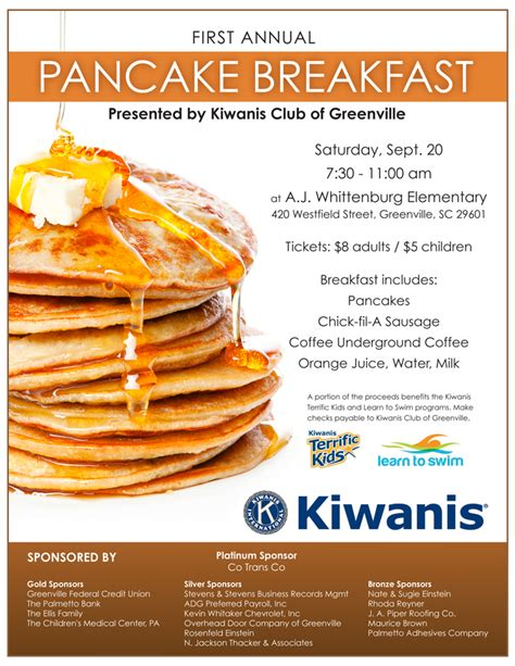 Pancake Breakfast This Saturday To Raise Funds For Kiwanis Club Programs Greenville Federal Breakfast Flyer Template