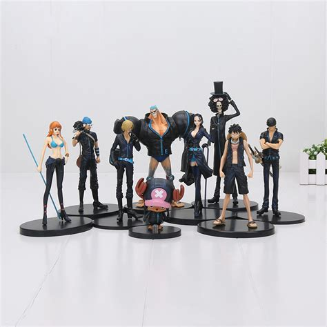 1 Set Sanji Yonji Barto Figure 9pcs set anime one gold monkey d luffy tony tony chopper brook sanji nami zoro pvc