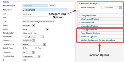 edit category blog layout joomla help25 menus menu item article category blog joomla