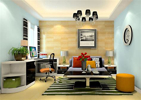 desk in living room design modern house