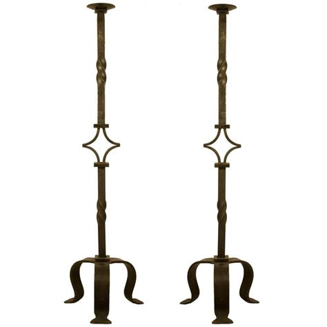 monumental pair of wrought iron candle stands for sale at