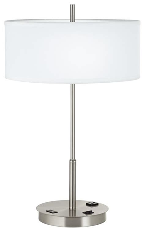Table Lamp With Usb Outlet Lani Brushed Steel Usb Port Table Lamp With Power Outlet