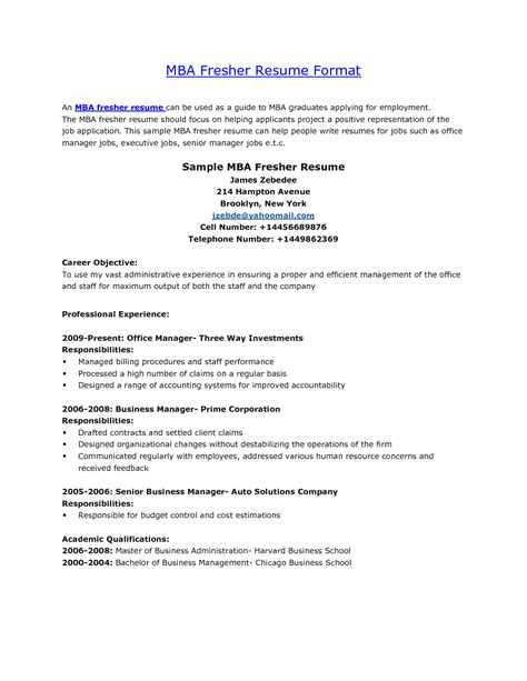 Business School Resume by Columbia Business School Resume Format Resume Ideas
