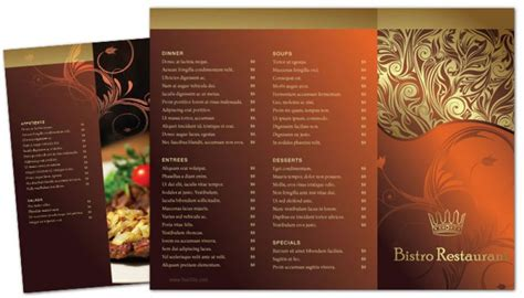 tri fold restaurant menu templates free tri fold brochure template for bistro restaurant menu