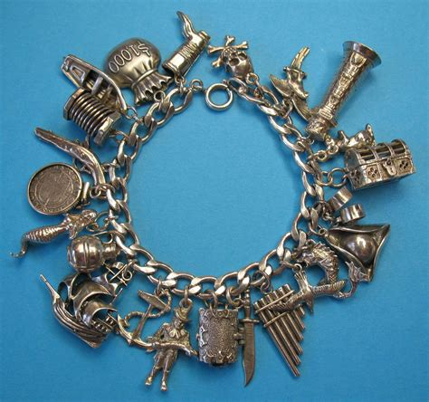 Vintage Sterling Silver Pirate Charm Bracelet   Rare Charms from just4girls on Ruby Lane