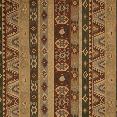 Southern Upholstery by Gold And Green And Coral Aztec Cabin Southern Chenille