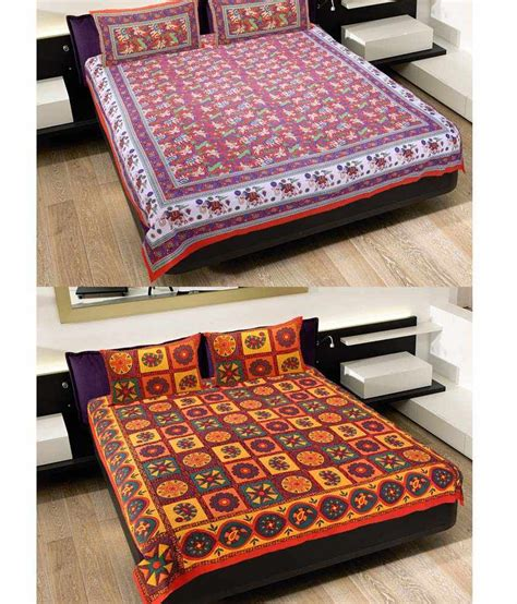 Cotton Mattress India by Grj India Multicolor Cotton Bed Sheets Pack Of 2 Buy