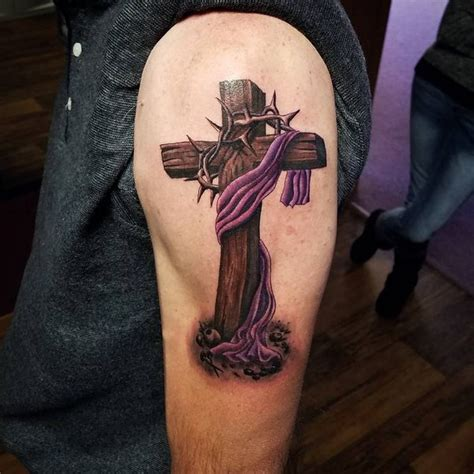 purple cross tattoo rugged cross meaning realistic wooden cross