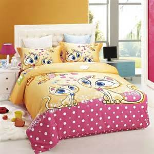 girls cat bedding duvet cover kids bed cat print bedding set children girls