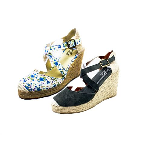 canvas cross wedge heel sandals shoes ebay