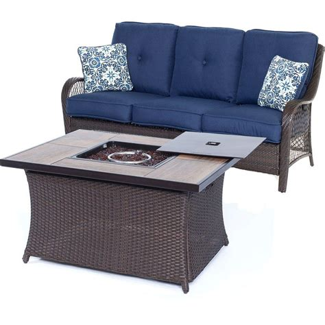 Patio Furniture Blue Hanover Oceana 6 Patio Seating Set With A Top Coffee Table And Crimson Cushions