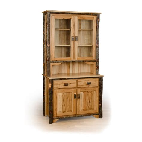 Hutch Furniture Rustic Hickory 2 Door Buffet And Hutch China Cabinet