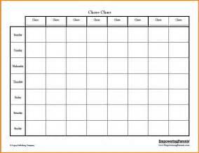 4 blank chore chart wedding spreadsheet