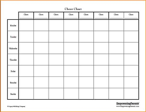 4 blank chore chart wedding spreadsheet