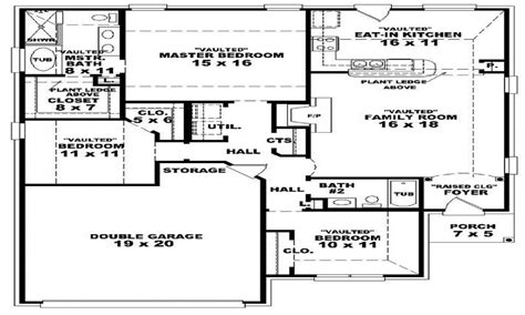 Large 1 Story House Plans by 3 Bedroom 2 Bath 46701 3 Bedroom 2 Bath 1 Story House