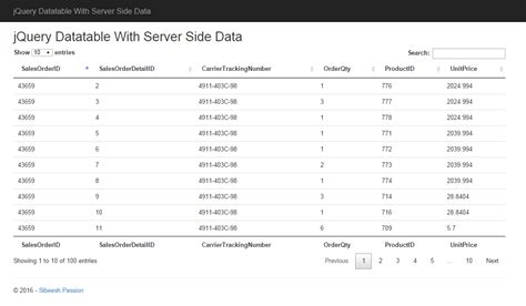 Jquery Data Table by Jquery Datatable With Server Side Data Codeproject