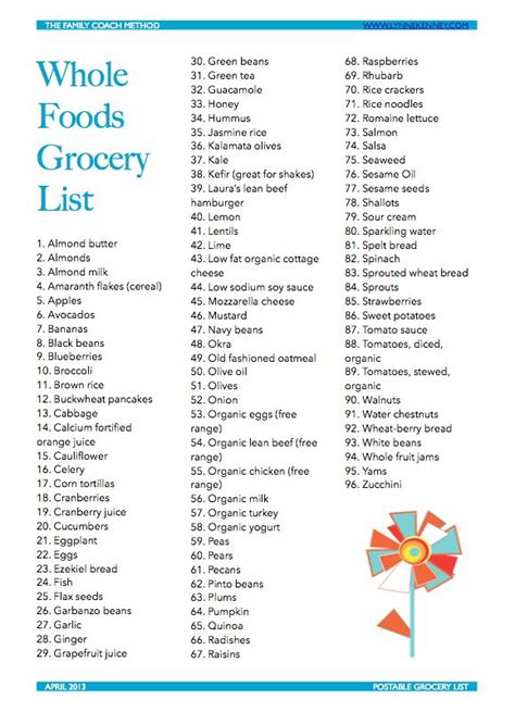 printable grocery list for multiple stores printable grocery list april 2013 whole foods