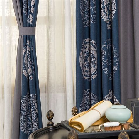 dark blue  dark grey cotton  linen patterned shabby chic vintage curtains  bedroom