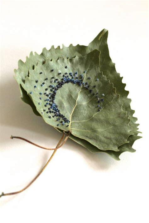 beautiful embroidered leaf art  created  hillary