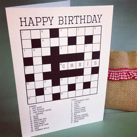 puzzle cards personalised crossword puzzle card by so