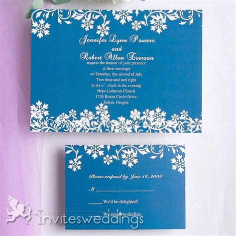 blue and wedding invitations blue white floral wedding invitation iwi093 wedding