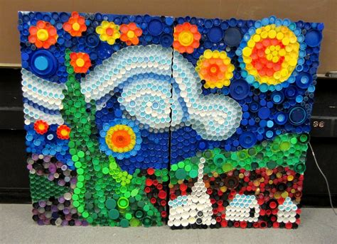 art projects mrs art teacher every cap counts our bottle cap mural