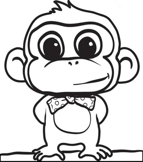 easy monkey coloring pages print download coloring monkey head with monkey