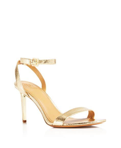 gold metallic high heel sandals burch elana metallic high heel sandals in gold lyst
