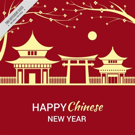 home design for new year chinese new year background with landscape vector free