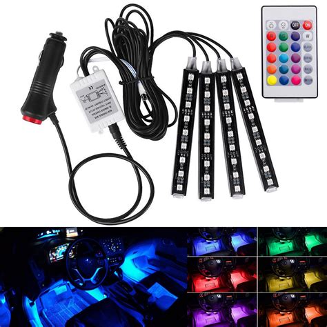 wireless rgb led lights wireless music remote control car rgb led neon interior