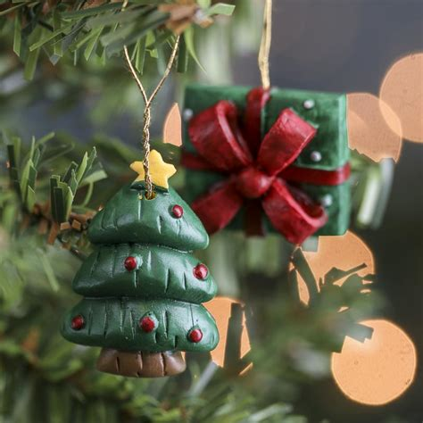 miniature christmas tree and gift box ornaments