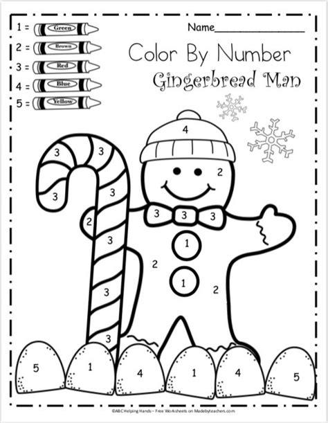 kindergarten math worksheets  winter color