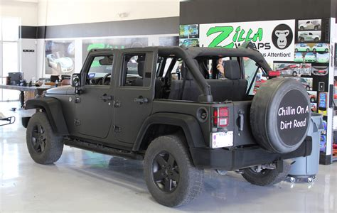 matte dark green jeep matte black jeep wrap fort worth zilla wraps