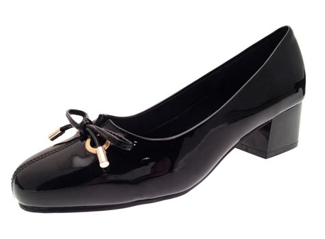 Comfortable Wide Heels by Womens Patent Low Block Heels Wide Fit Comfort Court Shoes