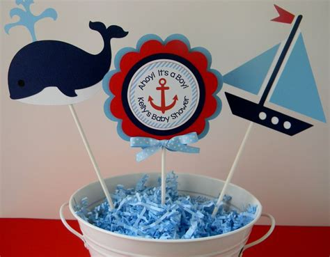 Nautical Baby Shower Or Birthday Party Personalized Nautical Theme Baby Shower Centerpieces