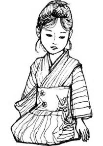 Japanese Girl in Kimono coloring page   Free Printable