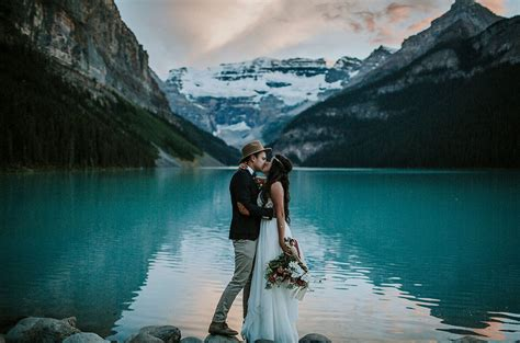 Where Do You Put Your Makeup On by Lake Louise Elopement Angie Juan Green Wedding Shoes