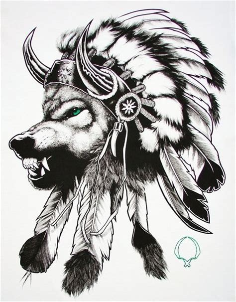 indian wolf tattoo wolf in an indian headdress quot make it simple but