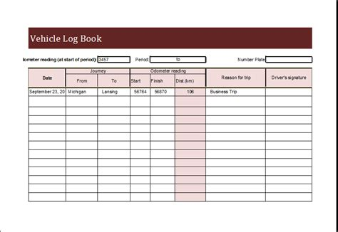 Vehicle Log Book Template Download At Http Www Xltemplates Org Vehicle Log Book Daily Book Template Pdf