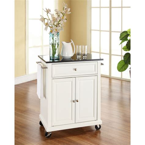 white kitchen island with black granite top crosley furniture solid black speckled granite top