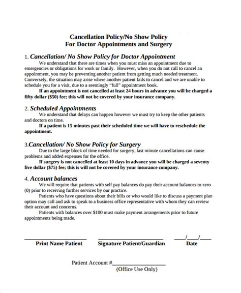 cancellation policy template 8 free documents