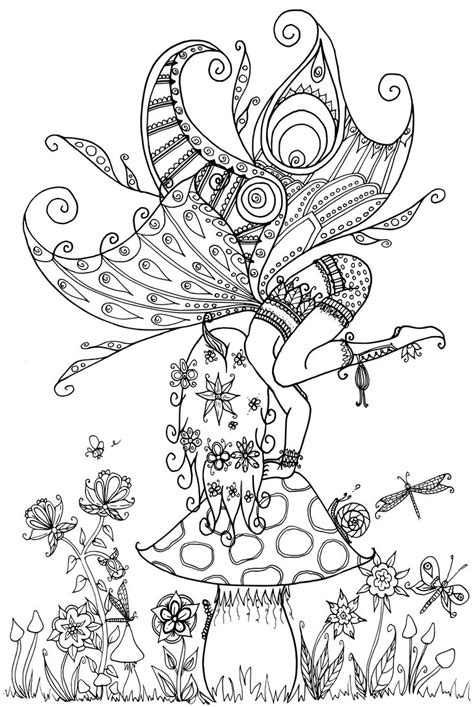forest elf coloring pages fairy on a toadstool by welshpixie deviantart fairy myth