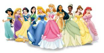 Disney princess line up with cinderella in a pink dress disney