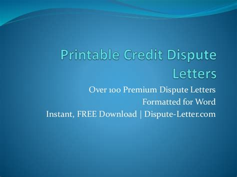 Effective Credit Dispute Letter Printable Credit Dispute Letters