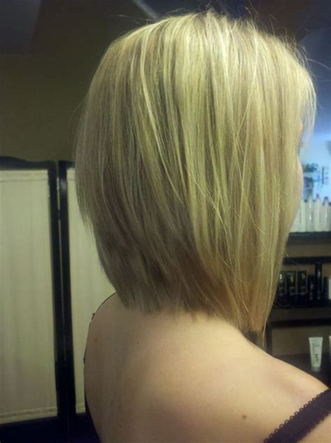 extra host bob haircut graduated long bob with extra light blonde highlights