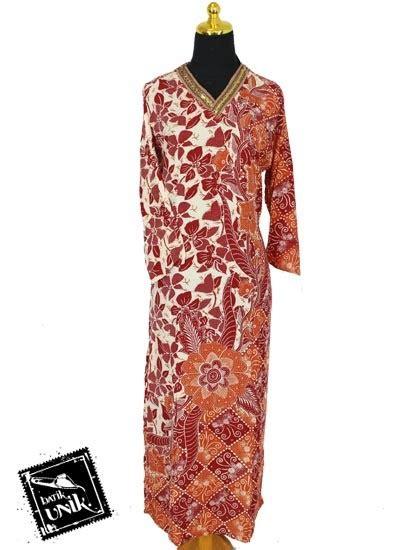 Baby Doll Dress Bunga baju batik longdress santhung motif bunga jalar daster