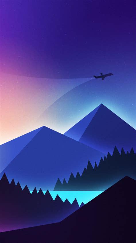 wallpaper airplane mountains landscape neon vibrant