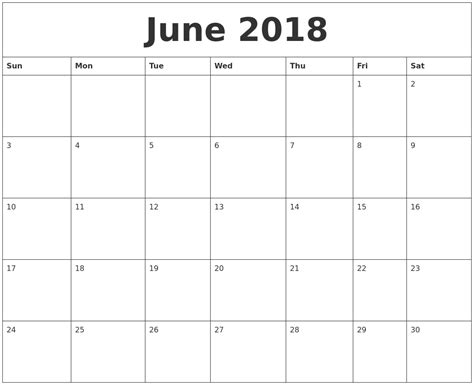 printable weekly calendar june 2018 journalingsage com june 2018 free printable monthly calendar