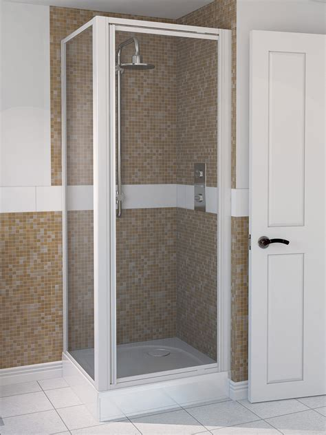 Aqualux Aqua 4 760mm Pivot Shower Door White Pivot Door Shower Enclosure