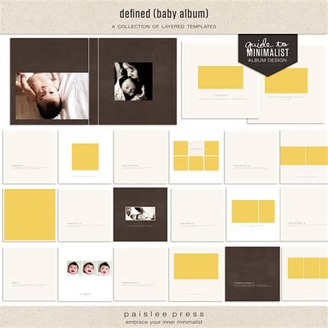 templates for photo defined baby layered template album by paislee press